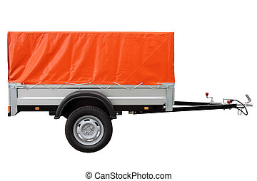 Orange car trailer. - Orange car trailer, isolated on white...