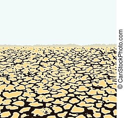 vector dry cracked soil, desert landscape