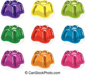 vector colorful gelatin jelly assortment