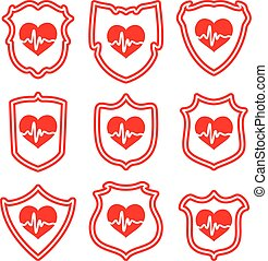 vector icons of  protect your heart symbols