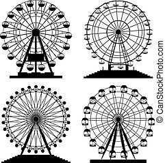 vector collection of park ferris wheels