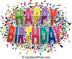 vector happy birthday greeting on colorful background of splinters
