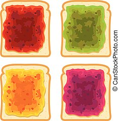 vector set of white bread slices with fruit jam