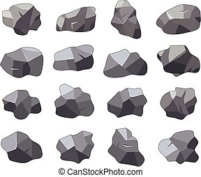 vector set of cartoon rock stones