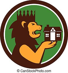 King Lion Holding House Circle Retro