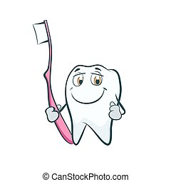 Tooth smiling cartoon character with toothbrush.