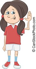 teen girl cartoon character - Cartoon Illustration of...