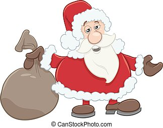 santa with sack cartoon - Cartoon Illustration of Santa...