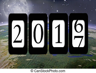 odometer for New Year 2017 - Odometer on planet earth and...