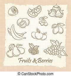 Hand drawn fruits and berries