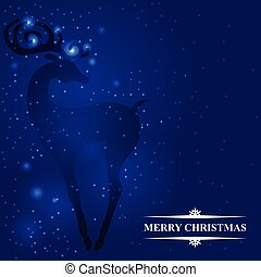 Blue Christmas card with a deer