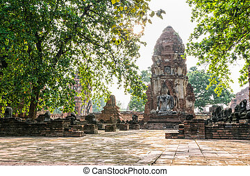 Wat Phra Mahathat temple - Buddha statue sitting position at...