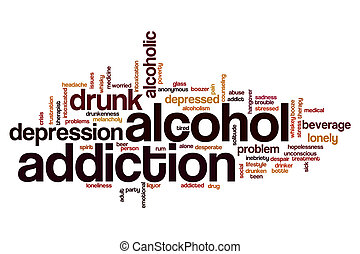 Alcohol addiction word cloud concept