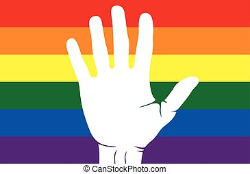 Hand painted lgbt flag - Vector illustrations of the Hand...