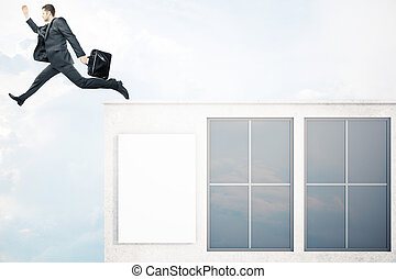 Success concept - Businessman with briefcase jumping off...