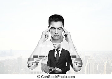 Man thinking about business - Young man thinking about...