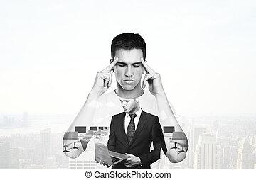 homem, pensando, aproximadamente, negócio