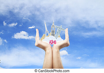 Travel concept - Male hands holding traveling sketch on sky...
