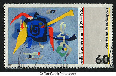 postmark - GERMANY - CIRCA 1989: stamp printed by Germany,...