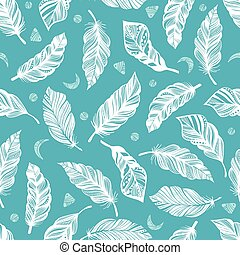 Seamless Boho pattern with feathers - Seamless pattern with...