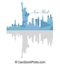Isolated New York Skyline - Isolated New York skyline on a...