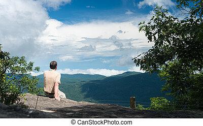 Trail to summit of Whiteside Mountain - Senior man looking...