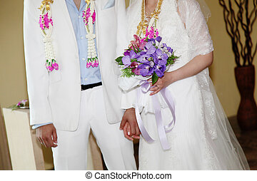 Bride and groom. - Close-up of a bride and groom on their...