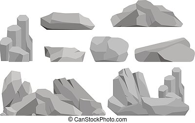 Rocks and stones vector illustration - Stones and rocks in...