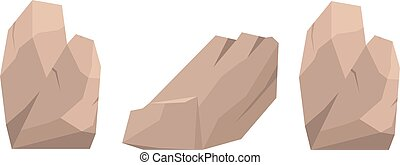 Web - Stones and rocks in cartoon style big building mineral...