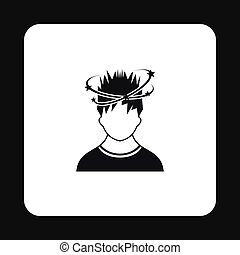 Man with dizziness icon, simple style - Man with dizziness...