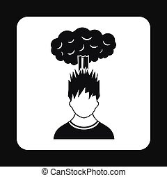 Cloud over man head icon, simple style - Cloud over man head...