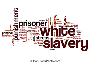 White slavery word cloud concept