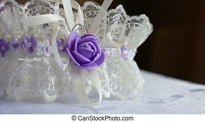 decoration for bride white lace with violet butterfly video...