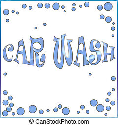 car wash poster - blue soap bubbles on white background...