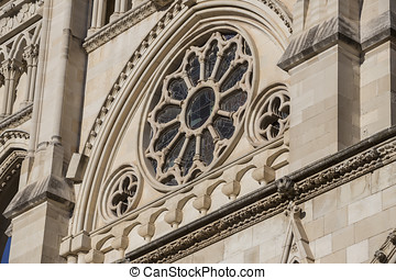 Detail of facade of the Cuenca's Cathedral, The cathedral is...