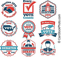 Vector set of Vote labels and badges for elections, debates...