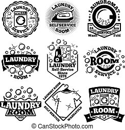 Set of Vector Laundry badges. With bubbles, laundromat, detergent