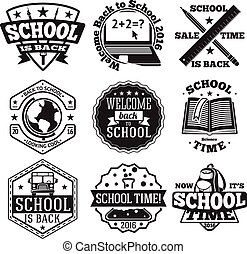 Vector set of school badges for new season, sales etc. With globe, computer, book, backpack,  bus .