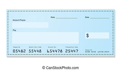 bank cheque old style - Blue dollar old style bank cheque...