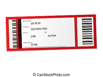 concert event ticket - red concert event ticket with set...