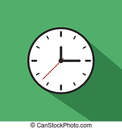 Clock Icon Long Shadow Illustration - Clock icon long shadow...