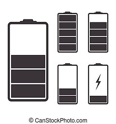 Set of battery icons illustration