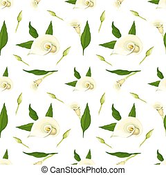 Floral vector pattern with callas. Realistic style on a...