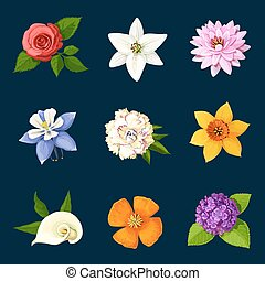 Colorful flowers set on dark background. Vector illustration...