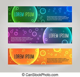 Set of 3 abstract banners with multiple colored bubbles. EPS...