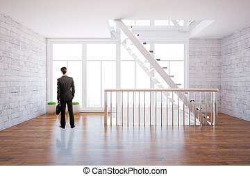 Thoughtful man in bright interior - Thoughtful businessman...