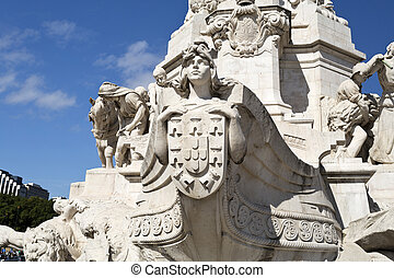 Lisbon Marquis of Pombal - Detail of the base of the...