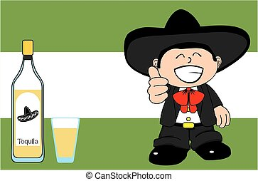 funny kid mexican mariachi cartoon expressions background...