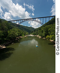 Rafters at the New River Gorge Bridge in West Virginia -...