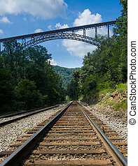 Metal structure of the New River Gorge Bridge in West...